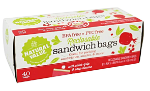 Sandwich Bags Reclosable, 40 Bags